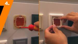Anbau des Schalters: Nachdem Trägerelement und Abdeckrahmen an der gewünschte Schalterdose befestigt sind, muss der Zwischenring angebracht werden.