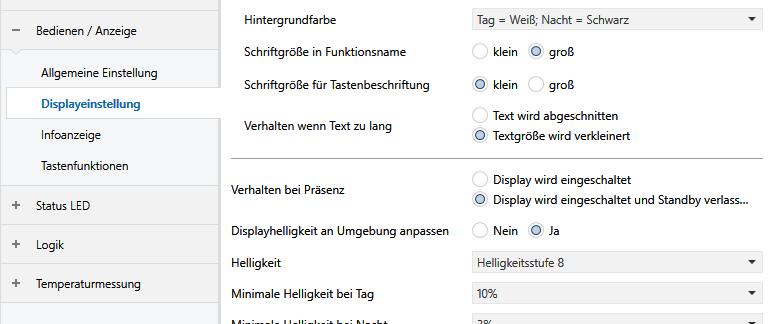 Parameter Bedienen/Anzeige