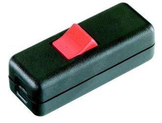 Schnur-Zwischenschalter Serie 8010 Aussc halter, 2-polig, Gehäuse und Zugentlastu schwarz/rot