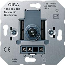 gira 118100 dimmer einsatz mit druck wechselschalter 100 1000w online kaufen im voltus elektro. Black Bedroom Furniture Sets. Home Design Ideas