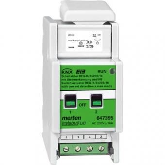 MERTEN 647395 Schaltaktor REG-K/2x230/16 mit Handbetätigung und Stromerkennung