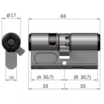 WINKHAUS BO 05 Profil-Doppelzylinder blueCompact einseitig
