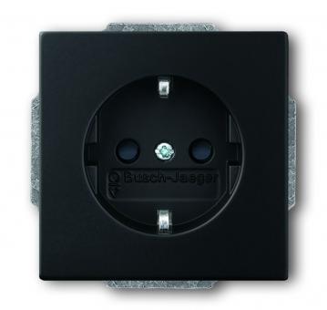 busch jaeger 20eucks 885 schuko steckdosen einsatz mit kinderschutz schwarz matt online kaufen. Black Bedroom Furniture Sets. Home Design Ideas