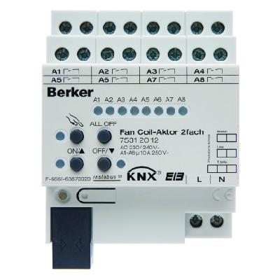 BERKER-75312012 Fan Coil-Aktor 2fach 10 A Schliesser, Hand, Status, REG