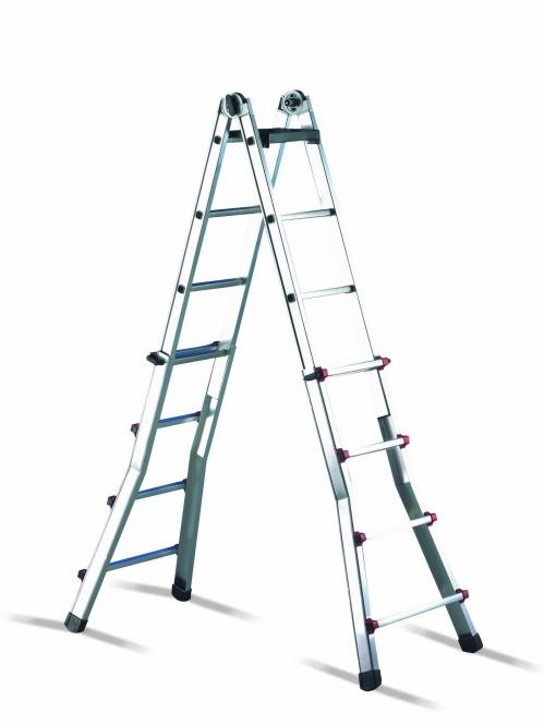 cimco 146706 h henverstellbare aluminium teleskop leiter 2 x 6 stufen h he 0 97m bis 3 00m. Black Bedroom Furniture Sets. Home Design Ideas