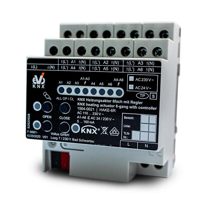 EVOKNX 1504-0021 HAKE-6R KNX Heizungsaktor REG 6fach mit Regler