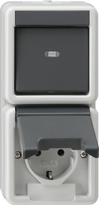 gira 017630 ip44 kombination universal aus wechselschalter steckdose online kaufen im voltus. Black Bedroom Furniture Sets. Home Design Ideas