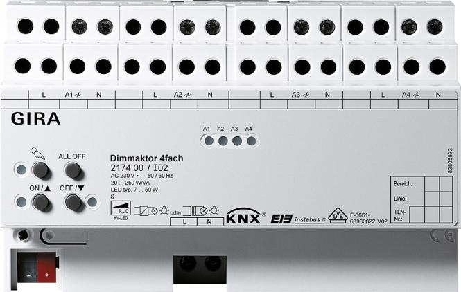 gira 217400 knx eib dimmaktor 4fach online kaufen im voltus elektro shop. Black Bedroom Furniture Sets. Home Design Ideas
