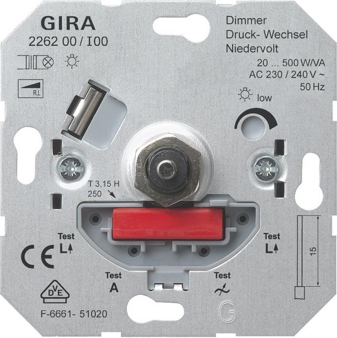 gira 226200 nv dimm einsatz mit druck wechselschalter online kaufen im voltus elektro shop. Black Bedroom Furniture Sets. Home Design Ideas