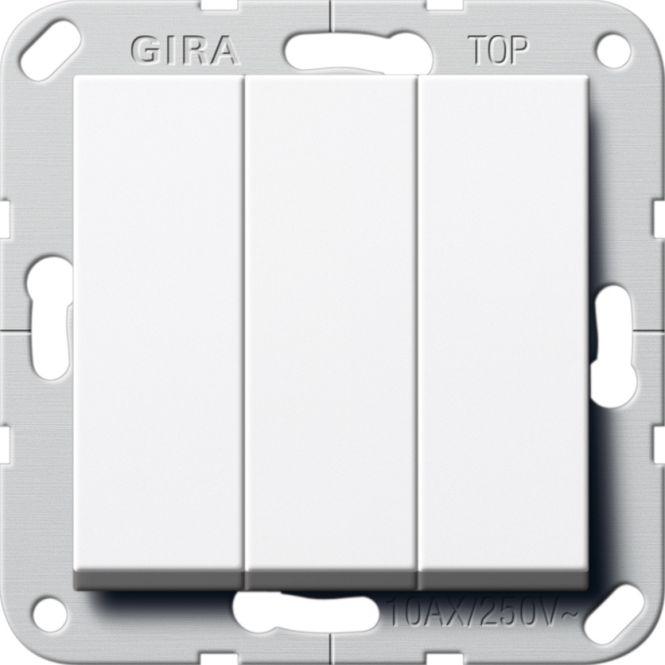 GIRA 283203 Wippschalter 3fach Universal-Aus-Wechselschalter Reinweiß glänzend