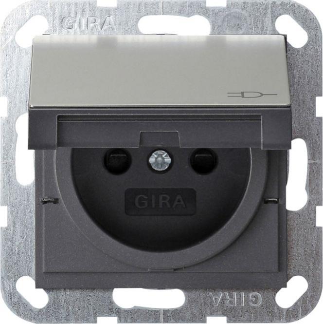 gira 0488600 steckdose mit erdungsstift edelstahl online kaufen im voltus elektro shop. Black Bedroom Furniture Sets. Home Design Ideas