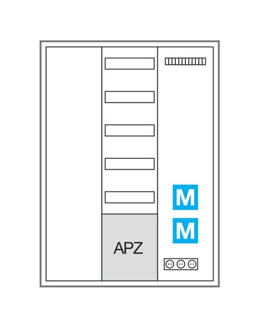 HAGER ZB33NW1APZ2 Systemschrank universZ IP44 SKII Höhe=1100mm Breite: 800mm, 3-feldig