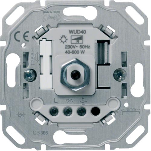 HAGER WUD40 Drehdimmer 40-600W,für Glüh- /Halogenlampen,mit Dreh-/Druck-Schalter