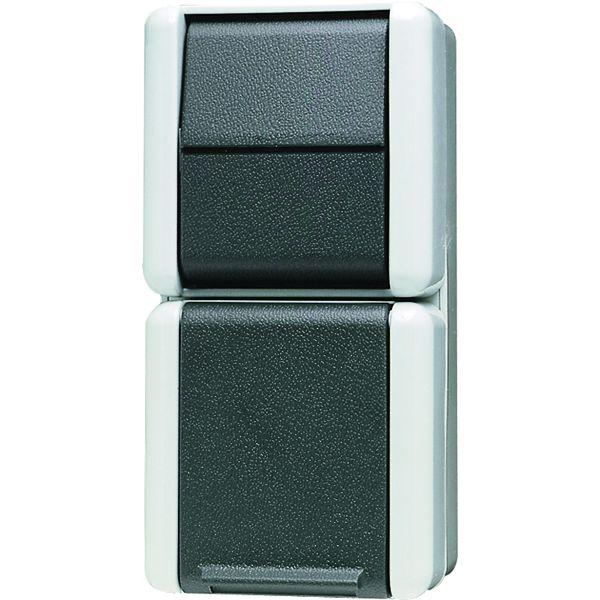 jung 876w schuko steckdose mit aus wechselschalter online kaufen im voltus elektro shop. Black Bedroom Furniture Sets. Home Design Ideas