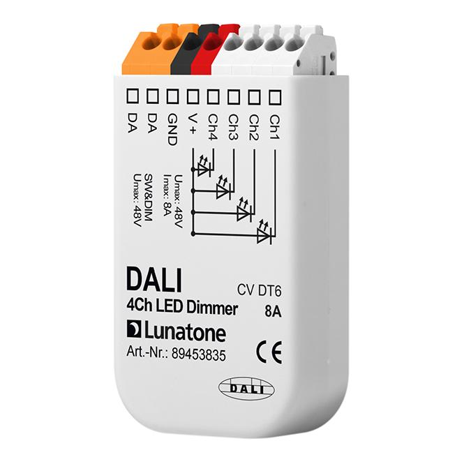 LUNATONE 89453835 DALI DT6 4-Kanal LED Dimmer CV 12-48VDC 8 A