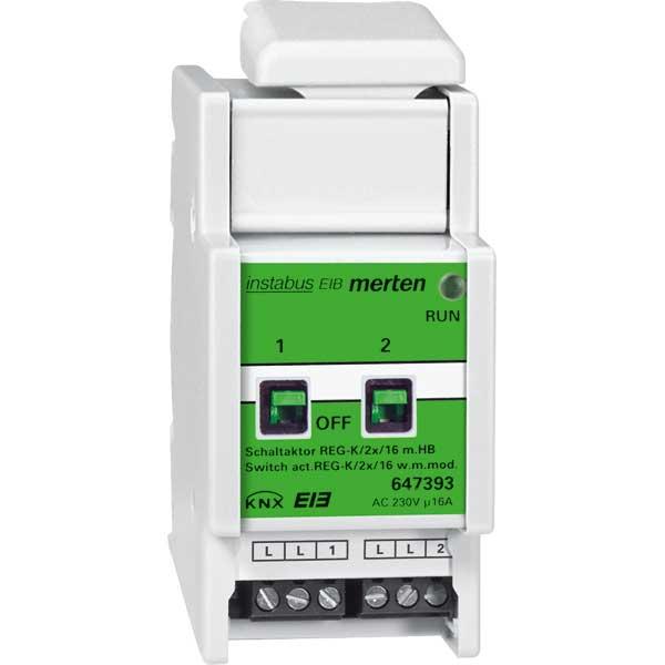 MERTEN 647393 Schaltaktor REG-K/2x230/16 mit Handbetätigung