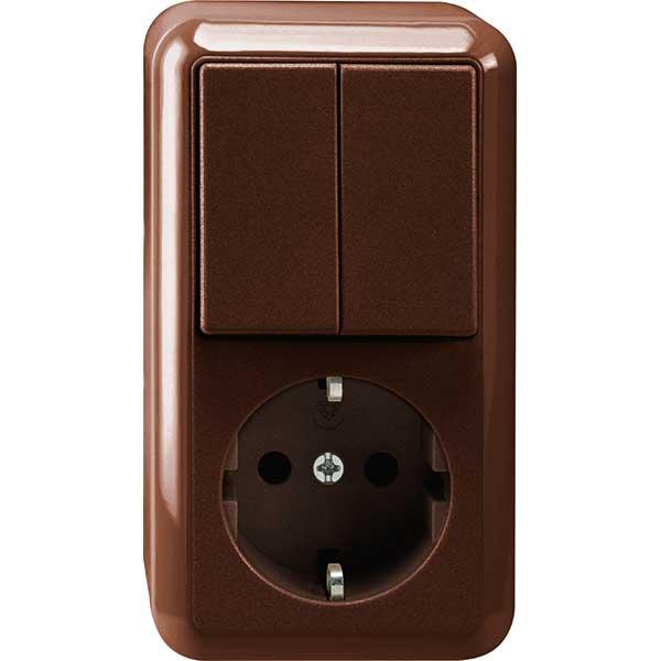 merten meg3498 8717 kombination schuko steckdose serienschalter aufputz braun online kaufen im. Black Bedroom Furniture Sets. Home Design Ideas