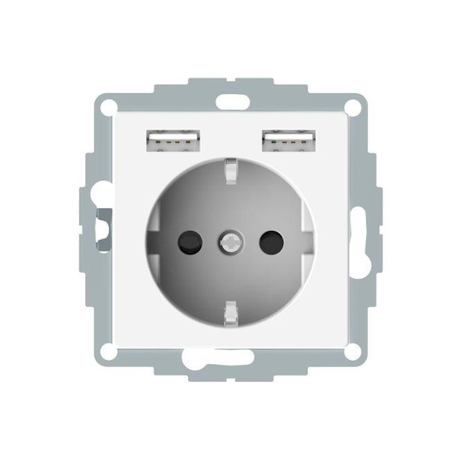 MERTEN MEG2366-0319 Schuko-Steckdosen- Einsatz mit USB Ladegerät 2,4 A Polarweiß glänzend