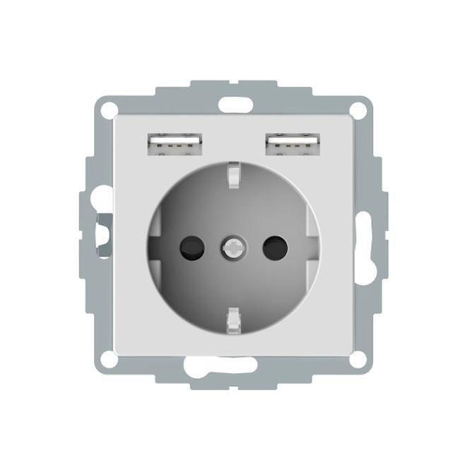 MERTEN MEG2366-0325 Schuko-Steckdosen- Einsatz mit USB Ladegerät 2,4 A Aktivweiß glänzend