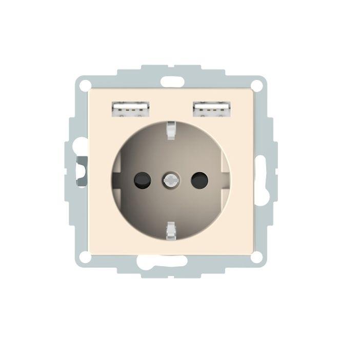 MERTEN MEG2366-0344 Schuko-Steckdosen- Einsatz mit USB Ladegerät 2,4 A Weiß glänzend