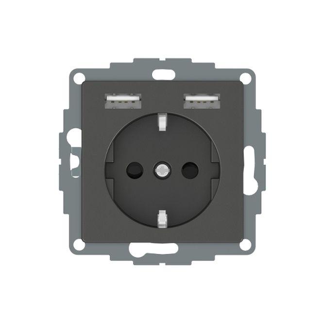 MERTEN MEG2366-0414 Schuko-Steckdosen- Einsatz mit USB Ladegerät 2,4 A Anthrazit