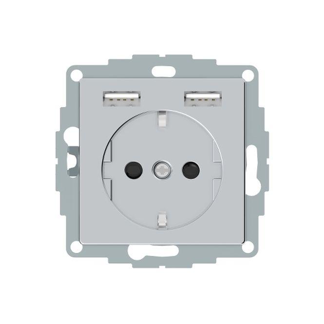 MERTEN MEG2366-0460 Schuko-Steckdosen- Einsatz mit USB Ladegerät 2,4 A Aluminium