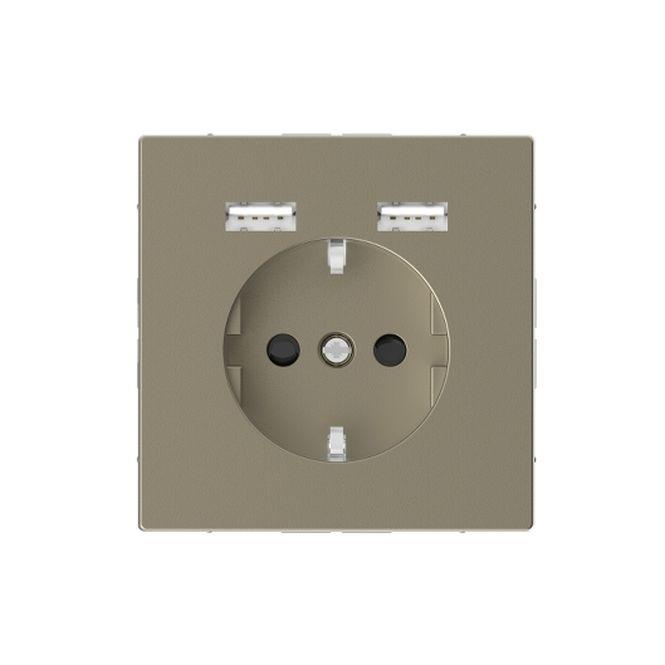 MERTEN MEG2366-6033 Schuko-Steckdosen- Einsatz mit USB Ladegerät 2,4 A Sahara