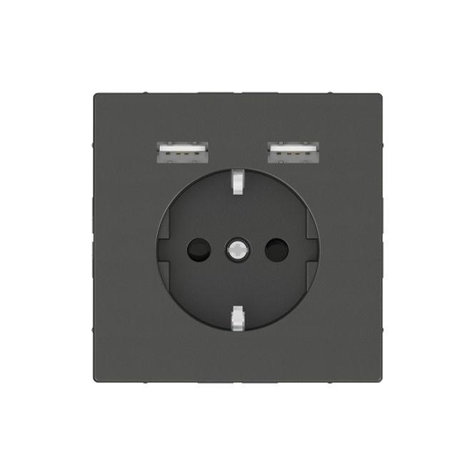 MERTEN MEG2366-6034 Schuko-Steckdosen- Einsatz mit USB Ladegerät 2,4 A Anthrazit