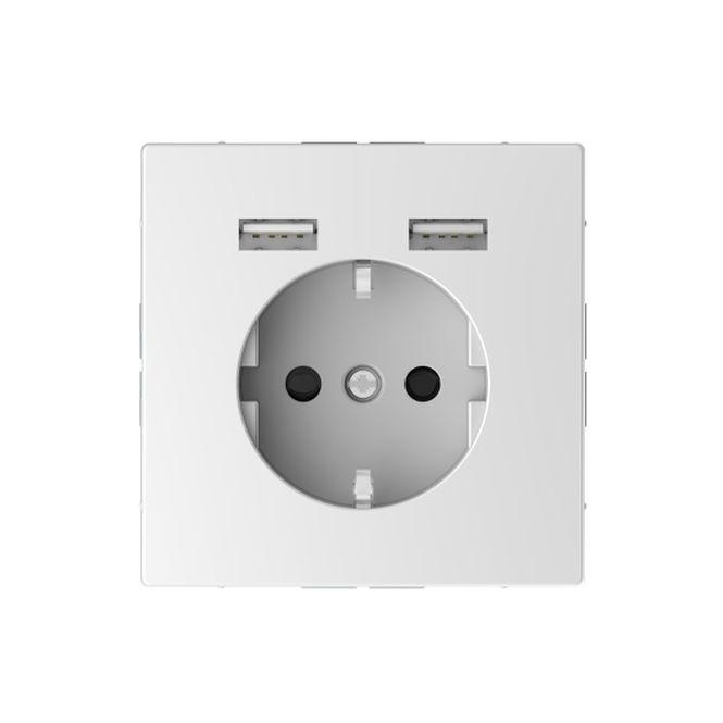 MERTEN MEG2366-6035 Schuko-Steckdosen- Einsatz mit USB Ladegerät 2,4 A Lotosweiß