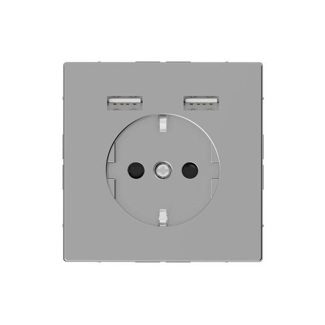 MERTEN MEG2366-6036 Schuko-Steckdosen- Einsatz mit USB Ladegerät 2,4 A Edelstahl