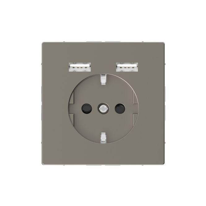 MERTEN MEG2366-6050 Schuko-Steckdosen- Einsatz mit USB Ladegerät 2,4 A Nickelmetallic