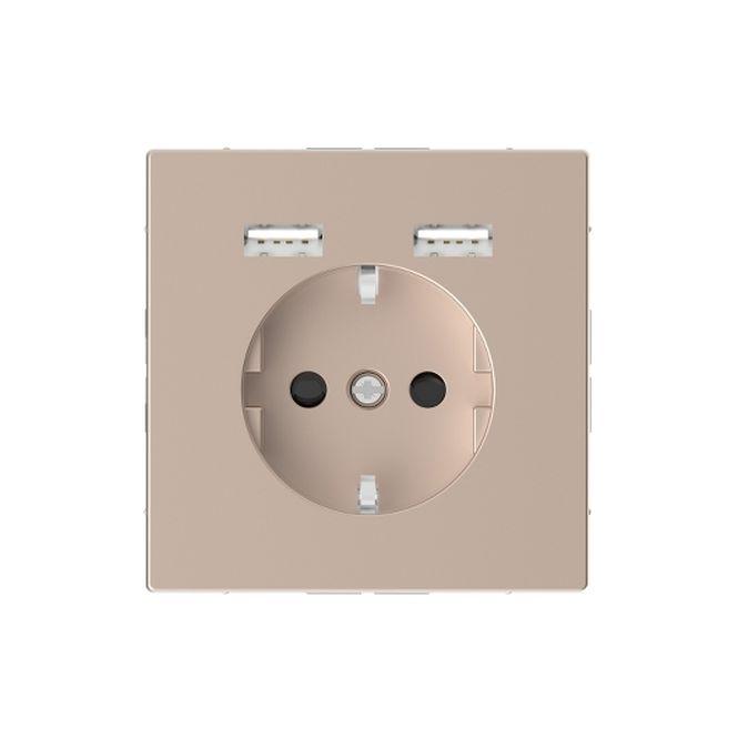 MERTEN MEG2366-6051 Schuko-Steckdosen- Einsatz mit USB Ladegerät 2,4 A Champagnermetallic