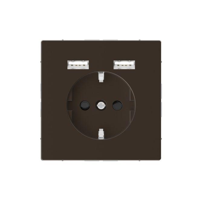 MERTEN MEG2366-6052 Schuko-Steckdosen- Einsatz mit USB Ladegerät 2,4 A Moccametallic
