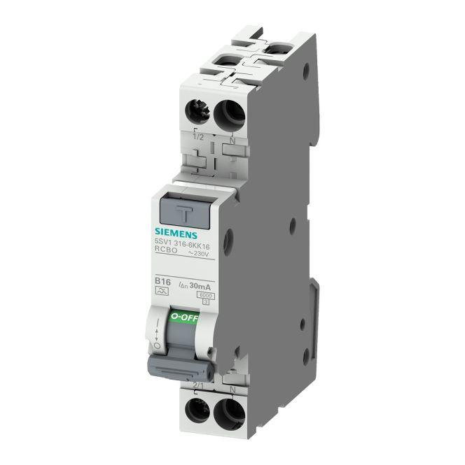 SIEMENS 5SV1316-6KK16 FI/LS-Schalter 1P+N 6kA Typ A B-Charakteristik 30mA 16 A