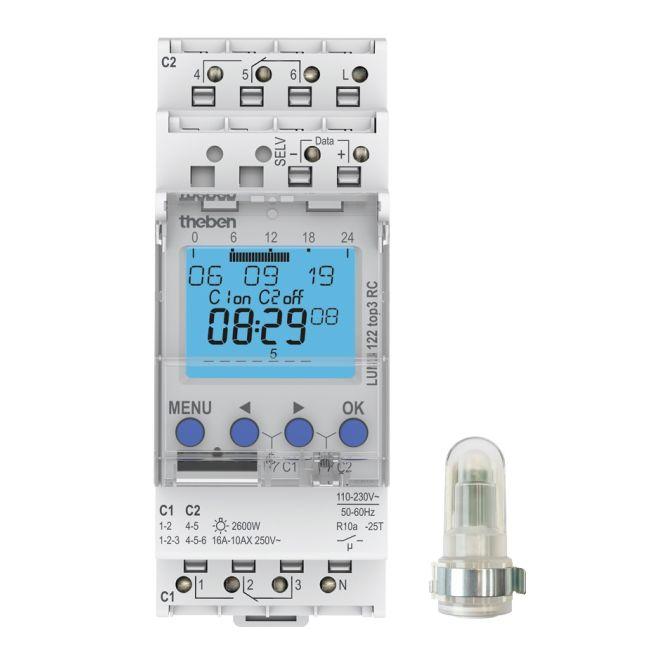 THEBEN 1220130 LUNA 122 top3 RC AL Digitaler Dämmerungsschalter 2 Kanäle mit Aufbau-Lichtsensor