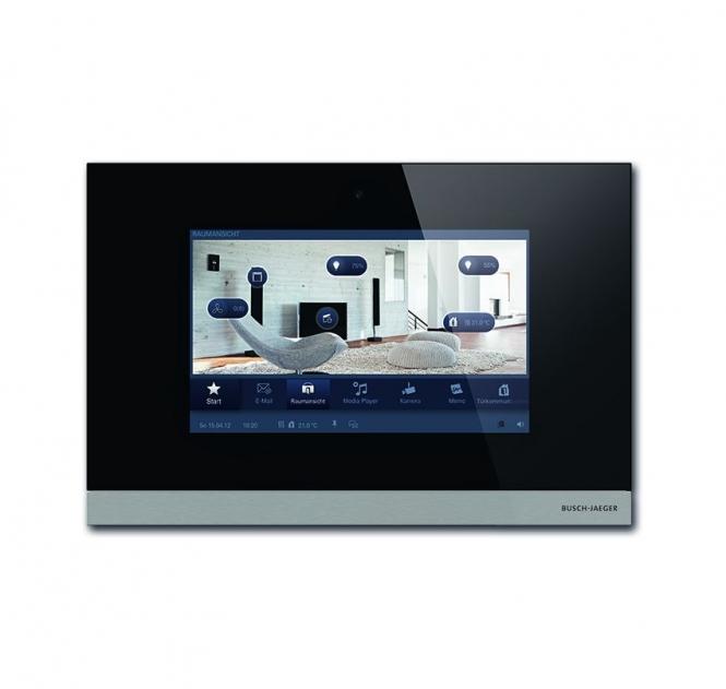 busch jaeger 8136 09 825 busch comfortpanel 9 schwarzglas online kaufen im voltus elektro shop. Black Bedroom Furniture Sets. Home Design Ideas