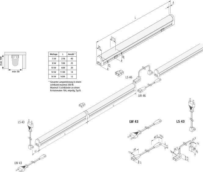 hera 20202610102 led basiclite f linienleuchte warmwei 278 mm 5 w online kaufen im voltus. Black Bedroom Furniture Sets. Home Design Ideas