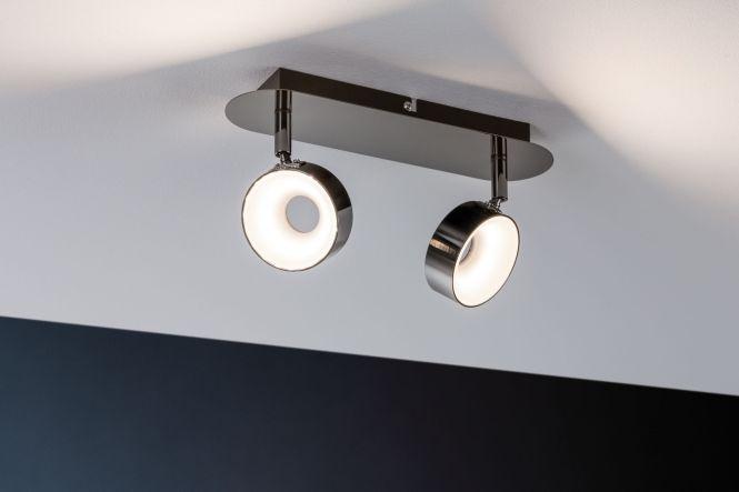paulmann led strahler funnel 2x6w 230v 3000k 280lm schwarzchrom chrom 2 flammig online. Black Bedroom Furniture Sets. Home Design Ideas