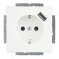 BUSCH-JAEGER 20 EUCBUSB-884 SCHUKO USB-Steckdose Safety+ Studioweiß matt