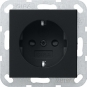 GIRA 2755005 SCHUKO-Steckdose ohne Befestigungskrallen Schwarz matt