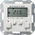 GIRA 237003 Raumtemperatur-Regler 230V mit Uhr Reinweiß glänzend