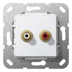 GIRA 563303 Einsatz Cinch Audio Kabelpeitsche Reinweiß glänzend