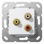 GIRA 563703 Einsatz Cinch Audio und Composite Video Kabelpeitsche Reinweiß glänzend
