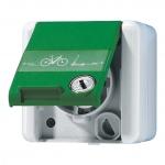 JUNG 820 GN NAWSLEB SCHUKO Steckdose 16A E-Bike-Ladesymbol mit Sicherheitsschloss