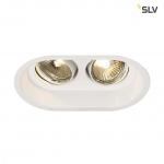 SLV 113111 HORN 2 Einbauleuchte max. 2x50W GU10 230V schwenkbar oval Weiß matt