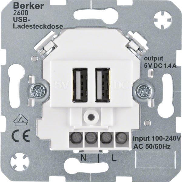 berker 260009 usb ladesteckdose 230v polarwei matt online. Black Bedroom Furniture Sets. Home Design Ideas