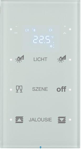berker 75643150 touchsensor 3fach mit temperaturregler glas polarwei online kaufen im voltus. Black Bedroom Furniture Sets. Home Design Ideas