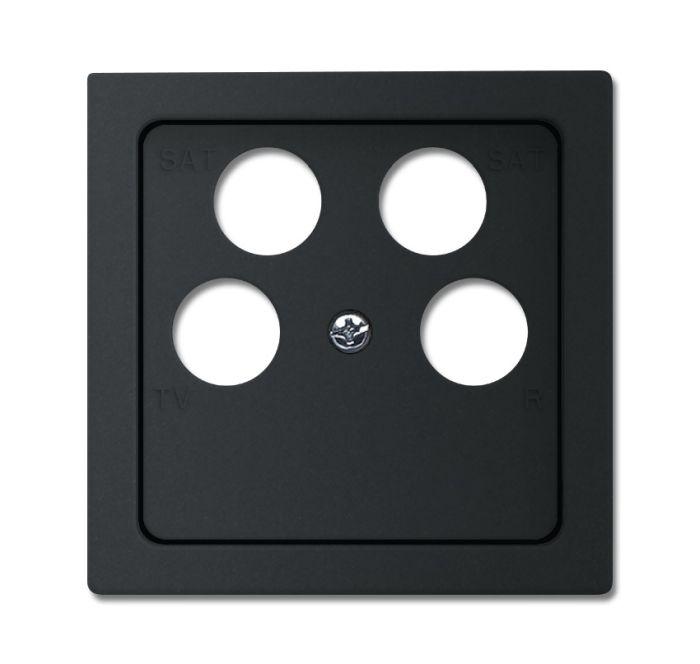 busch jaeger 1743 10 04 885 abdeckung f r 4 fach antennensteckdose schwarz matt online kaufen im. Black Bedroom Furniture Sets. Home Design Ideas