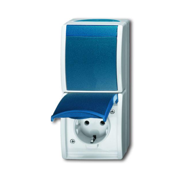 busch jaeger 2601 6 20 ew 53 kombination schuko steckdose mit wippschalter grau blaugr n online. Black Bedroom Furniture Sets. Home Design Ideas