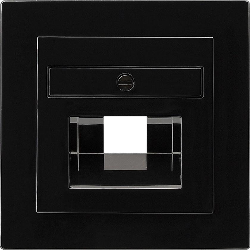 gira 027047 netzwerk anschlussdose abdeckung schwarz. Black Bedroom Furniture Sets. Home Design Ideas